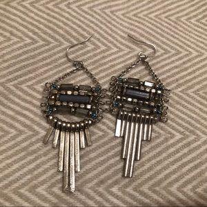 Silver boho beaded statement earrings
